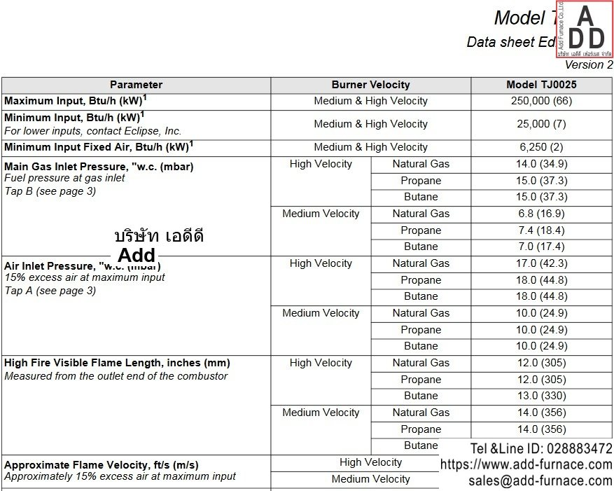 Eclipse ThermJet Burners TJ0025 Data Sheets
